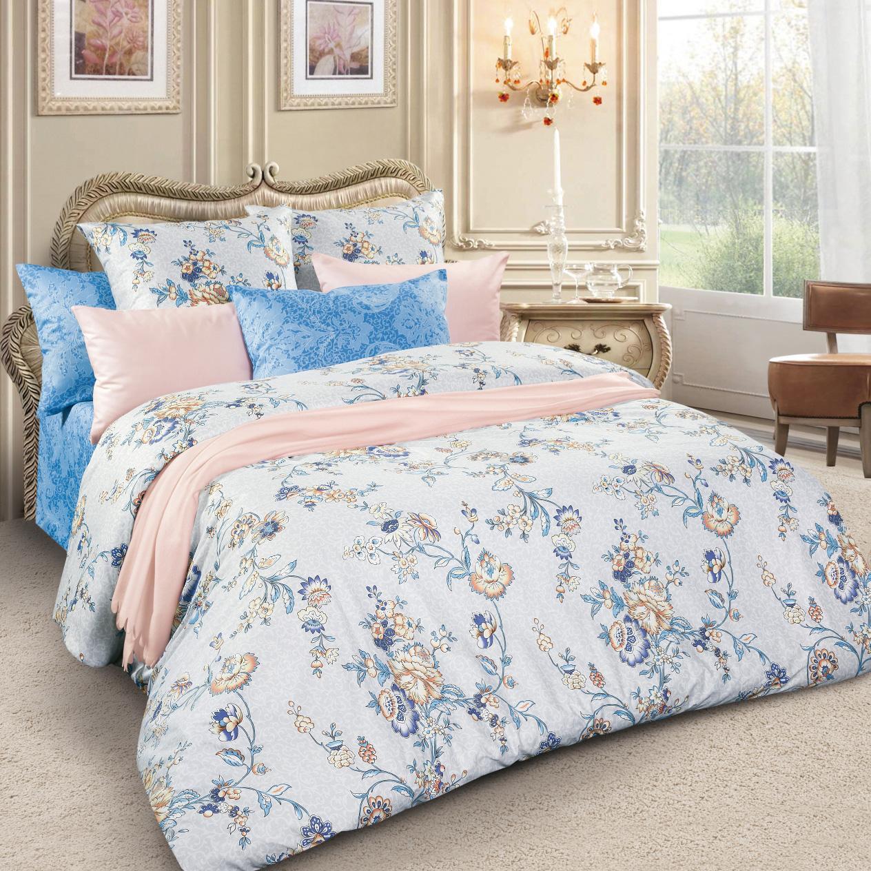 Комплект белья Letto, 2-спальный, наволочки 70х70, цвет: серый, голубой. sm62-4