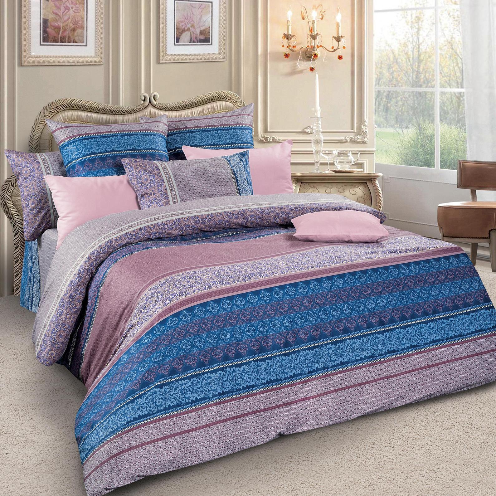 Комплект белья Letto, 1,5-спальный, наволочки 70х70, цвет: фиолетовый. sm49-3