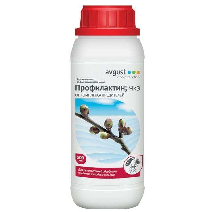 Средство для защиты растений Профилактин от комплекса вредителей, 500 мл96002708Средство Профилактин - инсектоакарицид, предназначенный для ранневесенней обработки плодовых и ягодных культур. Препарат эффективно борется с зимующими стадиями вредителей. В комплект входит пластиковый мерный стакан. Характеристики: Объем: 500 мл. Действующее вещество: 13 г/л малатиона, 658 г/л вазелинового масла. Класс опасности: 3 (умеренно опасное вещество). Производитель: Россия. Артикул: 96002708. Российская компания Август является крупнейшим производителем химических средств для защиты растений для сельскохозяйственного производства, а также для владельцев личных подсобных хозяйств и дачников. В компании созданы самая современная производственная база и мощный научный центр. Ассортимент продукции, выпускаемой компанией, насчитывает более 50 наименований высококачественных и технологичных препаратов. Специализированная пестицидная компания Август подтвердила качество выпускаемой продукции требованиями трех международных...