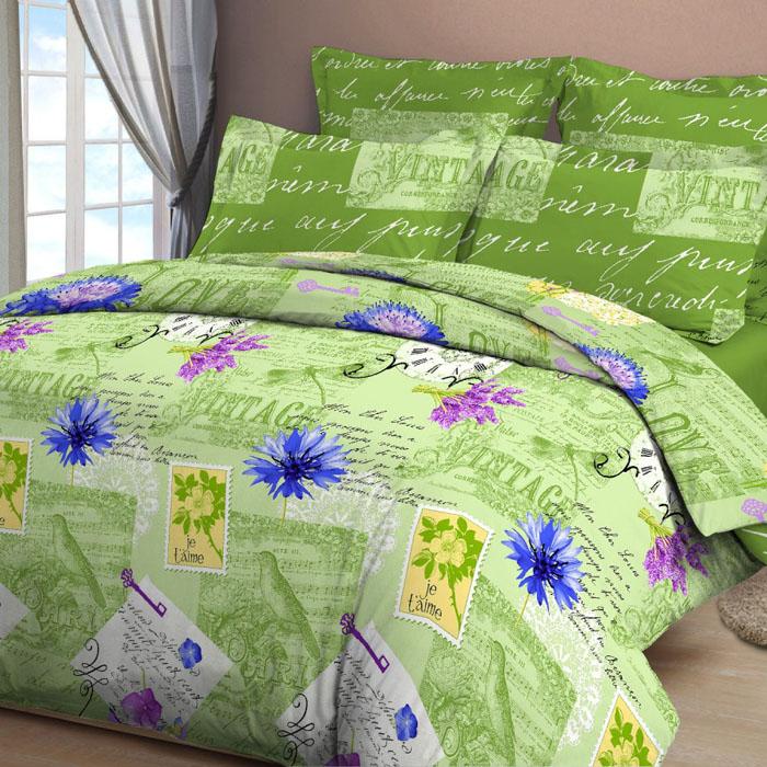 Комплект белья Letto, 1,5-спальный, наволочки 70х70, цвет: зеленый. B28-3