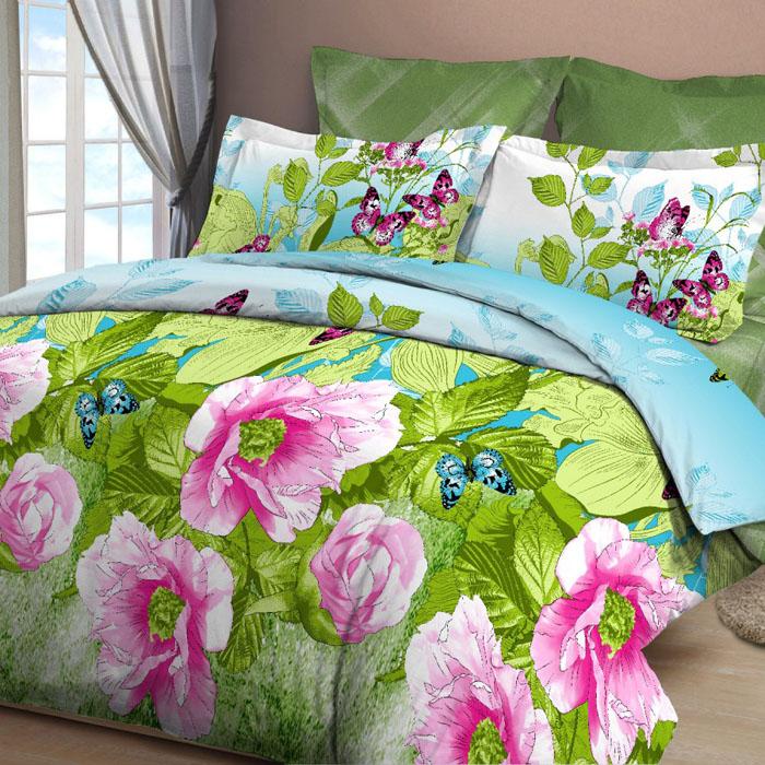 Комплект белья Letto, 2-спальный, наволочки 70х70, цвет: зеленый. B25-4