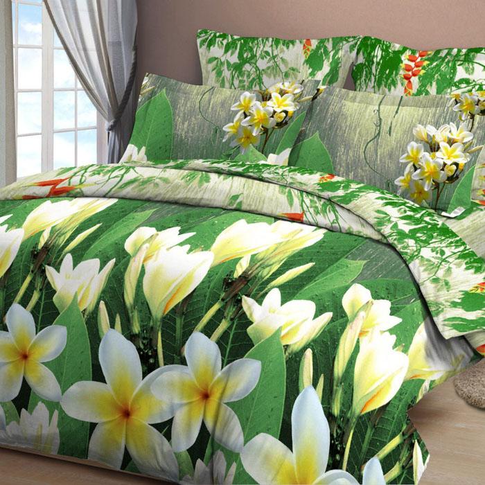 Комплект белья Letto, 1,5-спальный, наволочки 70х70, цвет: зеленый. B12-3