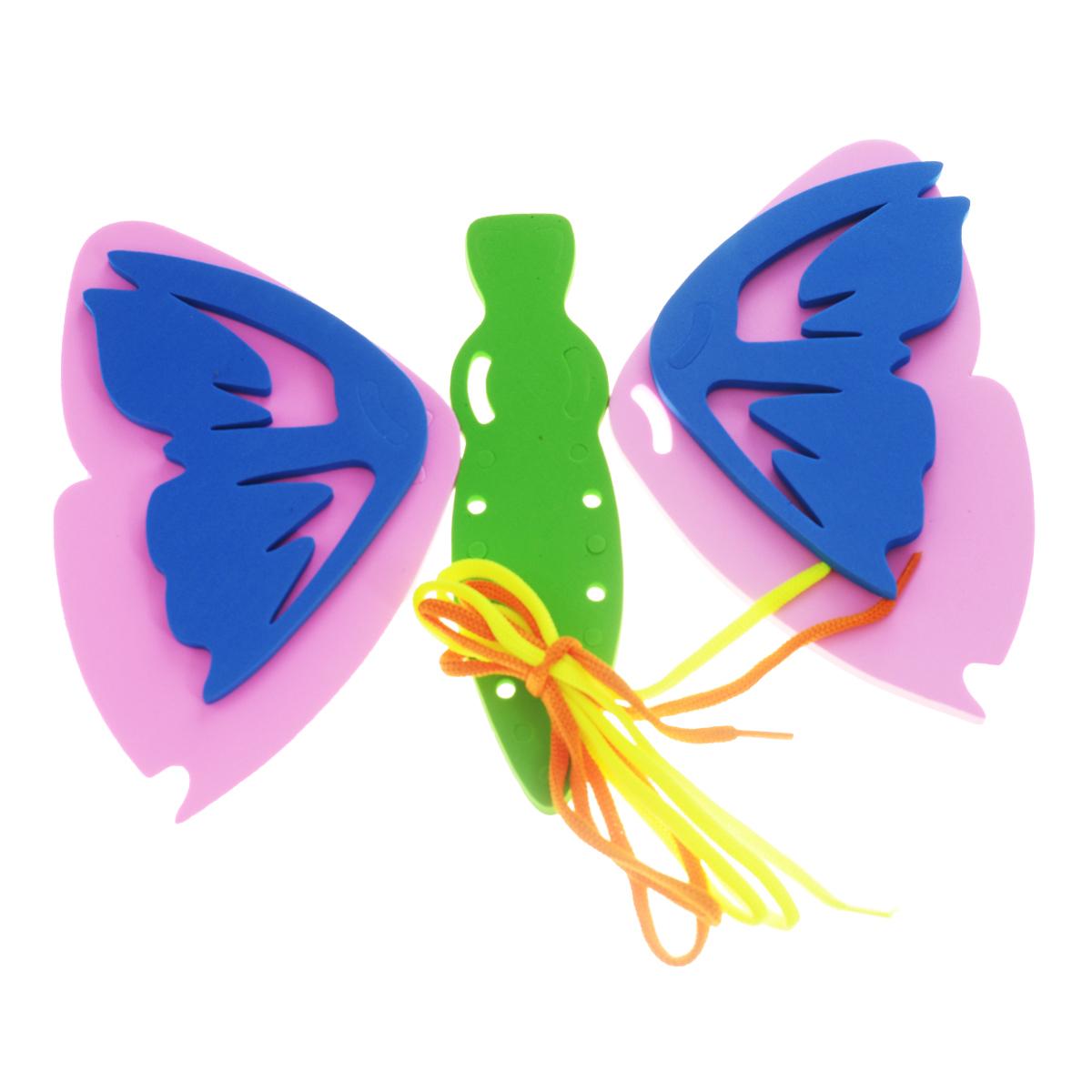 Игра-шнуровка Бабочка103002Яркая игра-шнуровка Бабочка представляет собой основу в виде тела бабочки, на которую при помощи шнурочка крепятся составные крылья. Для каждого элемента предусмотрено свое место, которое должен определить малыш. Элементы выполнены из мягкого полимера, детали гнутся, но не ломаются. Кроме того их можно намочить, благодаря чему они будут хорошо прилипать к стене в ванной комнате, поэтому малыш сможет играть со шнуровкой во время купания. Занимательная игра-шнуровка Бабочка поможет малышу развить мелкую моторику рук, логическое мышление и фантазию.