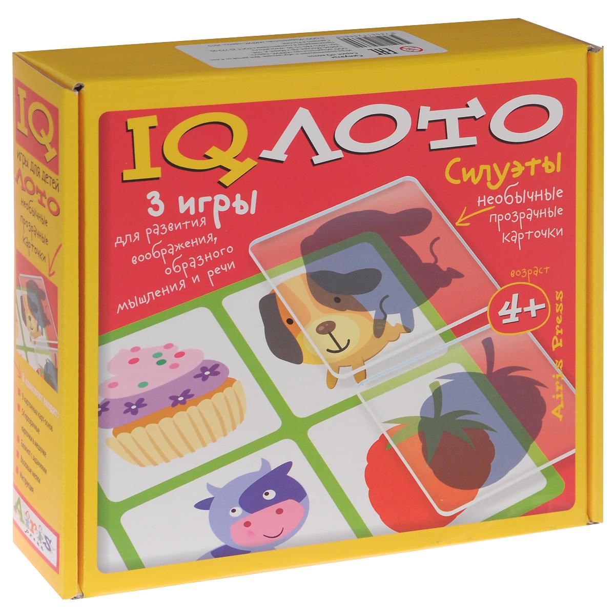Айрис-пресс Обучающая игра IQ Лото Силуэты 3 в 1978-5-8112-5660-0Набор настольных игр IQ Лото. Силуэты включает лото Силуэты, игру Сказочная путаница, а также блокнот Кляксики. В комплекте подробные правила для игр на русском языке. Комплект лото Силуэты содержит 9 картонных карт-основ, 54 пластиковых карточки и текстильный мешочек. Лото предназначено для компании от 2 до 9 игроков. Для игры Сказочная путаница используются 9 картонных карт лото. Игра предназначена для 2-3 игроков. К блокноту прилагаются восковые мелки 8 цветов. В дошкольном возрасте малыш получает знания и умения через собственные действия, поэтому играть - это и значит развиваться и обучаться. Перед вами необычные игры, развивающие сенсорику, внимание, мышление, воображение и речь. Играя в IQ Лото, ваш ребенок научится соотносить объем и плоскость, узнавать предмет по силуэту, выделять детали, которые делают объекты узнаваемыми, мысленно представлять проекцию предмета. В игре Сказочная путаница малыш сможет проявить свою фантазию, сочиняя...