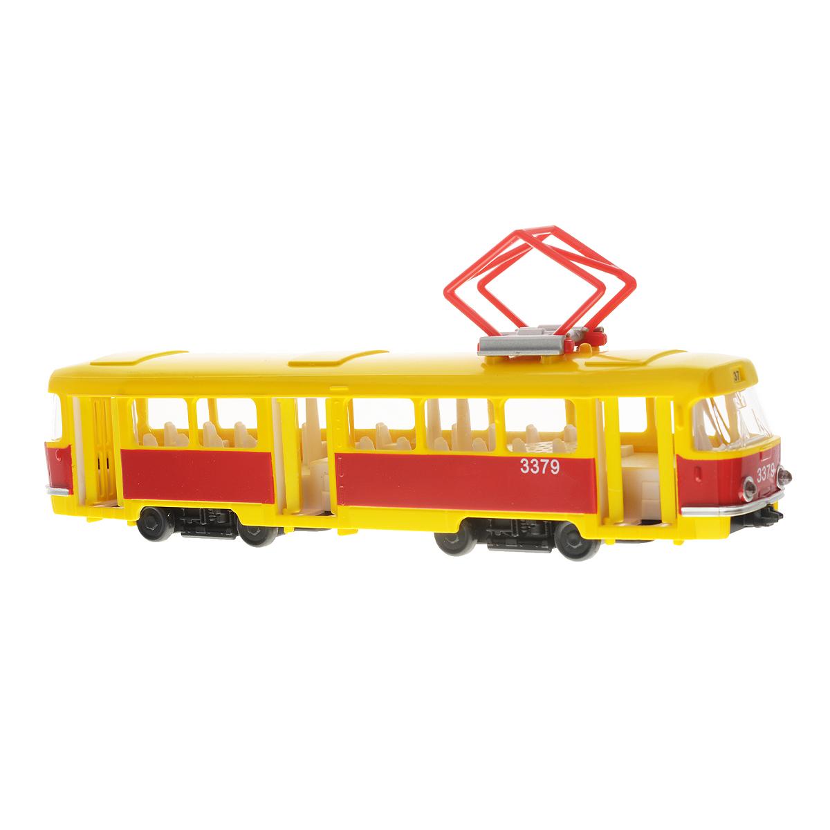 ТехноПарк ТрамвайCT12-428-2Игрушка ТехноПарк Трамвай, выполненная из пластика, станет любимой игрушкой вашего малыша. Игрушка представляет собой модель трамвая. Дверцы салона открываются. При нажатии на корпус раздастся звук работающего мотора. Ваш ребенок будет часами играть с этой игрушкой, придумывая различные истории. Порадуйте его таким замечательным подарком! Трамвай работает от батареек (товар комплектуется демонстрационными).