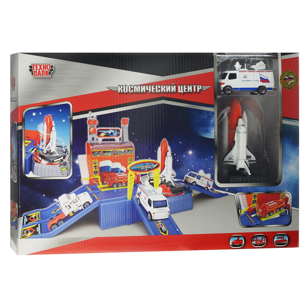 Игровой набор Технопарк Космический центр. 2854328543Игровой набор Технопарк Космический центр приятно порадует любого юного любителя космонавтики. Набор включает пластиковое здание космического центра с подвижными элементами, шаттл и машинку. Корпусы машинок выполнены из металла с элементами из пластика; колеса крутятся. Космический центр имеет три съезда; установка с шаттлом вращается. Теперь у вас дома появится настоящий космический полигон! Ваш ребенок с радостью будет играть с этим удивительным набором, придумывая различные захватывающие сюжеты. Порадуйте своего малыша таким замечательным подарком!