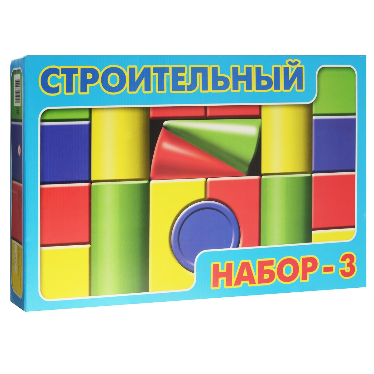Строительный набор Десятое королевство, №3, 19 элементов00230Строительный набор Десятое королевство, №3 - это набор геометрических фигур из выдувного пластика - великолепное пособие детям от трех лет для начала обучению дома и в дошкольных учреждениях цветам, формам и первым навыкам конструирования. Набор состоит из 10 кубиков, 2 конусов, 2 арок, 4 цилиндров и 1 полуцилиндра. Благодаря легким, но в то же время прочным элементам, не подвергающимся деформации при использовании, можно построить всевозможные замки, города и другие конструкции. Элементы конструктора выполнены из безопасного пластика, внутри полые и потому наименее травмоопасны для совсем маленьких строителей. Детям очень нравятся громадные комплексы городов и крепостей, которые легко разбираются и также быстро строятся из прочных устойчивых кубиков и цилиндров. Набор развивает творческие способности, логическое и пространственное мышление.
