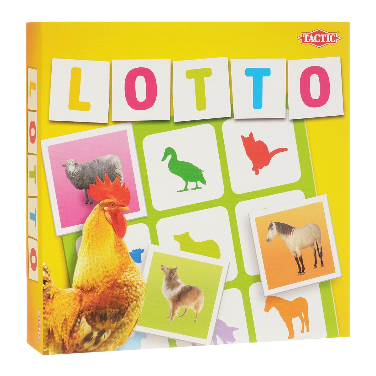 Настольная игра Tactic Games Lotto. Домашние животные41449Настольная игра Lotto. Домашние животные от компании Tactic Games - это обновленная версия полюбившейся родителям и детям игры от финского бренда Tactic. Правила остаются прежними: у каждого игрока есть свое поле 3х3, на котором нарисованы силуэты девяти животных. Между игроками выкладывается перемешанная стопка карточек, на которых изображены животные на цветном фоне. Поочередно карточки достаются из стопки. Кто первым опознал в карточке животное, изображенное на его поле, забирает ее. Цель игры: первым закрыть все силуэты животных на своем поле цветными карточками. Если вы играете вдвоем, можно усложнить правила и выдать каждому игроку не по одному, а по два поля. Возраст игроков: от 3 лет и старше. Количество участников: от 2 до 4 человек. Среднее время игры: 15 минут. В комплекте: 36 карточек, 4 игровых поля, правила игры.
