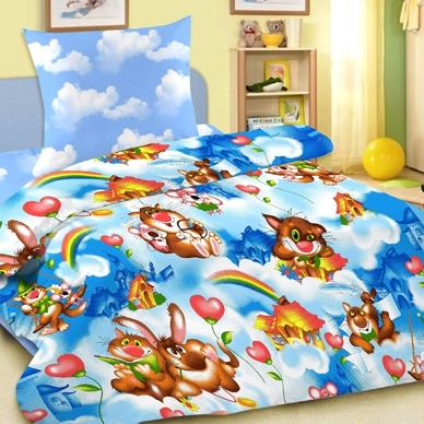 Детское постельное белье Letto Веселые коты (ясельный спальный КПБ, хлопок, наволочка 40х60)