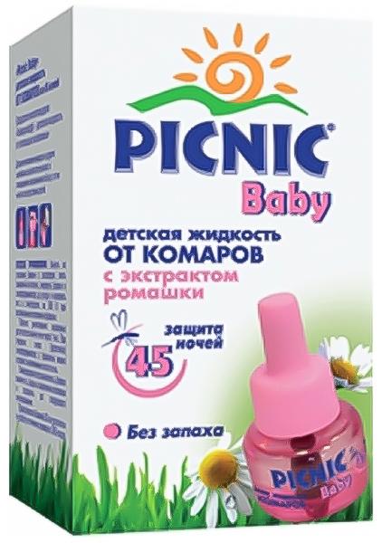 Picnic Baby Жидкость от комаров, 30 мл03.19.10.2308Жидкость от комаров Picnic Baby - это защита от комаров для самых маленьких членов вашей семьи. Дети будут спать спокойно и безмятежно благодаря особым свойствам жидкости, являющейся безвредным для людей инструментом борьбы с насекомыми. Не обладающая никаким запахом, абсолютно безопасная для здоровья ребенка жидкость от комаров с нежным экстрактом ромашки уничтожает насекомых в детской комнате, даже при открытых окнах в течение всей ночи. Сменный флакон рассчитан на 45 ночей (до 8 часов использования в сутки). Проверено дерматологами. Способ применения: Вынуть из упаковки флакон с раствором, снять защитный колпачок. В вертикальном положении ввернуть флакон в нагреватель до упора и включить его в электросеть на 220 В. Полное уничтожение комаров достигается за час.