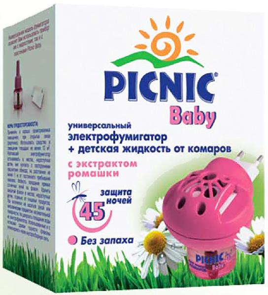 Picnic Baby Фумигатор+жидкость от комаров, 30 мл03.19.10.2311Электрофумигатор с жидкостью от комаров Picnic Baby 45 ночей - это защита от комаров в помещении для вас и самых маленьких членов вашей семьи. Не обладающая никаким запахом, абсолютно безопасная для здоровья ребенка жидкость от комаров с нежным экстрактом ромашки уничтожает насекомых в детской комнате, даже при открытых окнах в течение всей ночи. Сменный флакон рассчитан на 45 ночей (до 8 часов использования в сутки). Ваши дети будут спать спокойно и безмятежно. Проверено дерматологами. Вынуть из упаковки флакон с раствором, снять защитный колпачок. В вертикальном положении ввернуть флакон в нагреватель до упора и включить его в электросеть на 220 В. Прибор с жидкостью начинает действовать через 5-10 минут после включения, полное уничтожение насекомых достигается через 1 час.