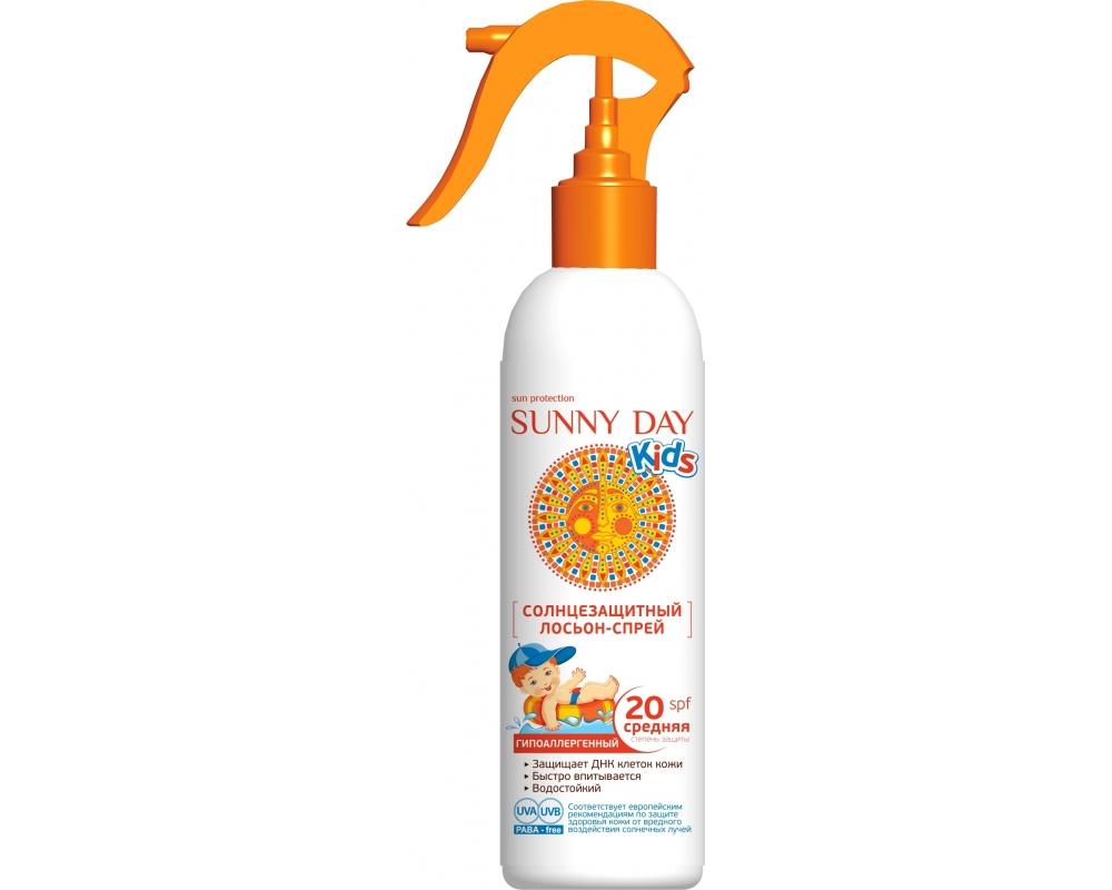 Sunny Day Солнцезащитный лосьон-спрей Kids, гипоаллергенный, SPF 20, 180 мл03.19.13.2846Солнцезащитный гипоаллергенный детский лосьон-спрей Sunny Day Kids с SPF 20 - обеспечивает очень высокую защиту от солнечного излучения, создавая абсолютно безопасный эффект солнцезащитных очков на коже. Средство быстро впитывается, эффективно защищает нежную детскую кожу от вредного UV-A и UV-B излучения благодаря запатентованной технологии микроинкапсулирования Eusolex UV-Pearls. Увлажняющий комплекс на основе биологически активного компонента Rona Care Ectoin обеспечивает восстановление защитных функций кожи и удерживает в ней влагу. Товар сертифицирован.