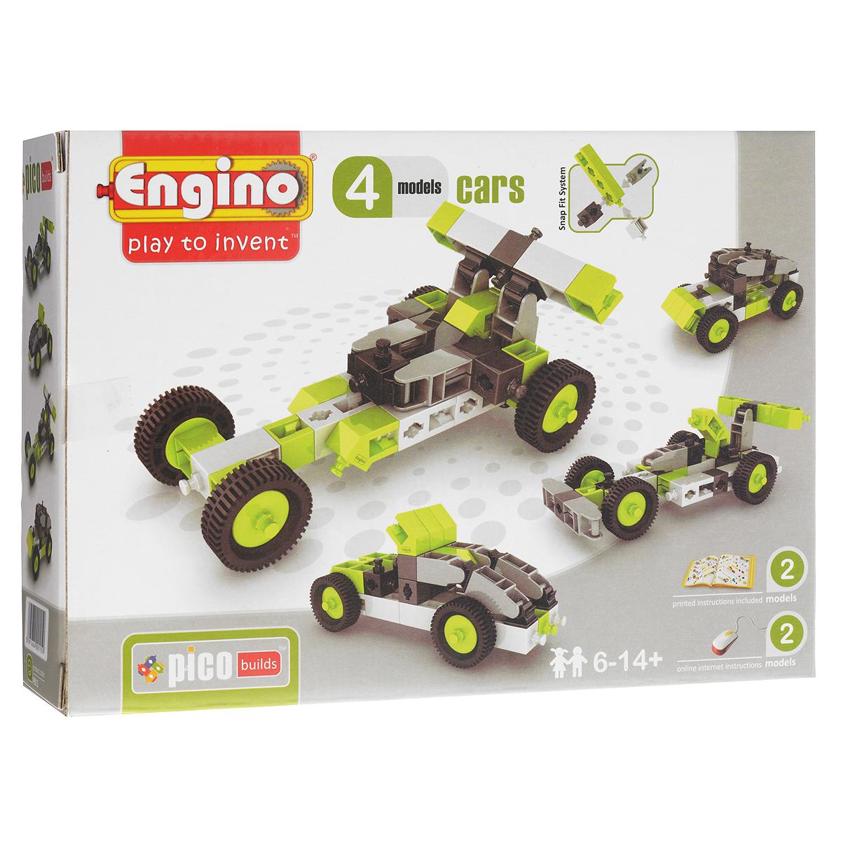 Engino Конструктор Cars 4 modelsPB11(0431)Конструктор Engino Cars обязательно понравится вашему ребенку! Конструктор включает в себя 49 элементов и схематичную инструкцию по сборке. В прилагаемой инструкции приведены модели двух машинок, и еще к двум моделям доступны онлайн-инструкции на официальном сайте производителя. Также ребенок может сконструировать свои модели. Игры с конструктором помогут ребенку развить воображение, внимательность, пространственное мышление и творческие способности.