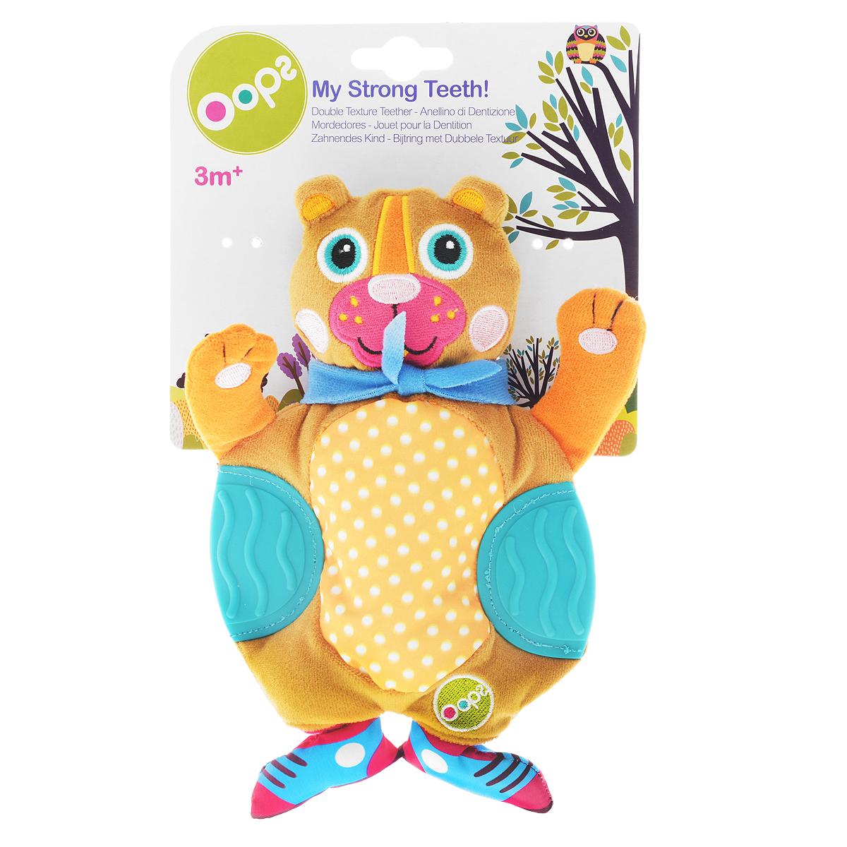 Развивающая игрушка OOPS МедвежонокO 13002.11Развивающая игрушка OOPS Медвежонок изготовлена из высококачественного текстиля и пластика безопасного для детей. Игрушка выполнена в виде забавного яркого медведя с прорезывателями по бокам. Прорезыватели помогут вашему малышу массажировать небо и десна, а игрушка отвлечет внимание ребенка. Нежная на ощупь поверхность и новые приятные цвета развивают органы чувств вашего малыша. Игрушка снабжена шуршащим животиком, что непременно понравится ребенку. Развивающая игрушка OOPS Медвежонок способствует развитию мелкой моторики и зрительно-цветовому восприятию.
