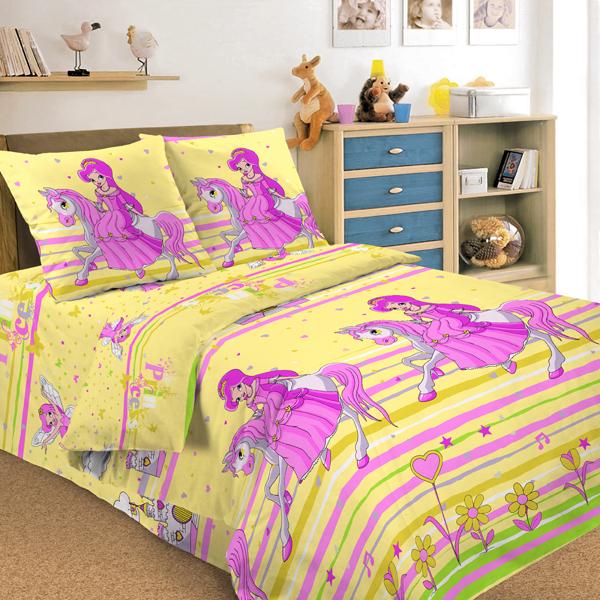Детское постельное белье Letto Принцесса (1,5 спальный КПБ, хлопок, наволочка 50х70)