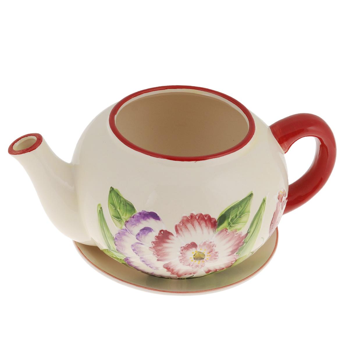 Кашпо Lillo Заварочный чайник, с поддоном. XY10S015-1CXY10S015-1CКашпо-горшок для цветов Lillo Заварочный чайник выполнен из прочной керамики и декорирован красочным рисунком. Изделие предназначено для цветов. Такие изделия часто становятся последним штрихом, который совершенно изменяет интерьер помещения или ландшафтный дизайн сада. Благодаря такому кашпо вы сможете украсить вашу комнату, офис, сад и другие места. Изделие оснащено специальным поддоном - блюдцем. Диаметр кашпо по верхнему краю: 12 см. Высота кашпо (без учета поддона): 14 см. Диаметр поддона: 20,5 см.