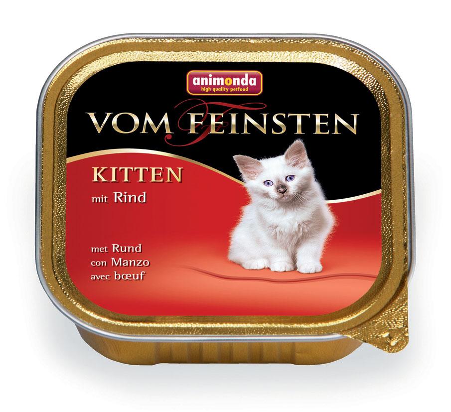 Консервы для котят Animonda Vom Feinsten, с говядиной, 100 г46679Консервы Animonda Vom Feinsten - это консервированное полноценное и деликатесное питание на основе отборного мяса в комбинации со специальными ингредиентами для котят высшего качества. Состав: мясо и мясные продукты 63% (говядина 25%, курица, свинина), бульон, минералы. Анализ: белок 10%, жир 7%, клетчатка 0,3%, зола 2%, влажность 81%. Добавки (на 1 кг продукта): витамин D3 200 МЕ, витамин Е (a-токоферол) 30 мг. Вес: 100 г. Товар сертифицирован.