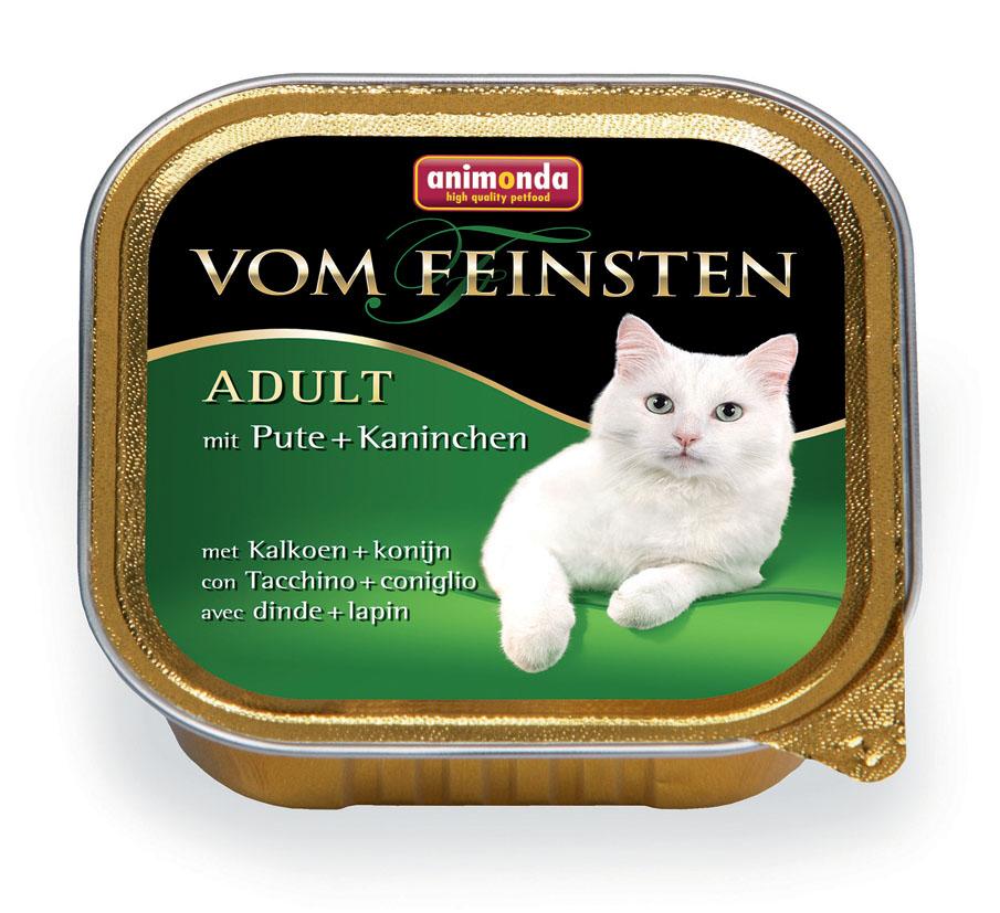 Консервы Animonda Vom Feinsten для взрослых кошек, с индейкой и кроликом, 100 г46680Консервы Animonda Vom Feinsten - восхитительная еда, которая обещает много удовольствия и ценится кошачьими гурманами во всем мире. Этот удивительно аппетитный консервированный корм имеет изысканную и насыщенную структуру, что очень нравится кошкам, а богатое сочетание различных сортов мяса добавляет пикантности этому блюду. Формула тщательно продумана, чтобы обеспечить все потребности питомца: комплекс витаминов, минералов и микроэлементов позаботится о крепком здоровье, блестящей шерсти и прекрасном пищеварении. Состав: мясо и мясные продукты 63% (свинина, индейка 25%, кролик 8%), бульон, минералы. Анализ: белок 11%, жир 5%, клетчатка 0,3%, зола 1,6%, влажность 81%. Добавки (на 1 кг продукта): витамин D3 200 МЕ, витамин Е (a-токоферол) 30 мг. Вес: 100 г. Товар сертифицирован.
