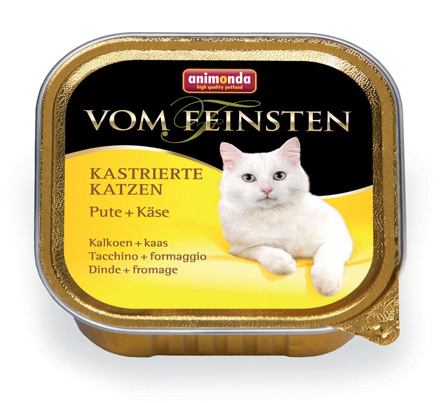 Консервы Animonda Vom Feinsten для кастрированных и стерилизованных кошек, с индейкой и сыром, 100 г46682Консервы Animonda Vom Feinsten это восхитительная еда, которая обещает много удовольствия и ценится кошачьими гурманами во всем мире, это линия полноценных сбалансированных консервированных кормов, которая удовлетворит запросы самых требовательных кошек. Полноценное консервированное питание высшего качества для кастрированных кошек/котов. Состав: индейка 53%, бульон, сыр 4%, карбонат кальция, хлорид натрия. Анализ: белок 12%, жир 4,4%, клетчатка 0,3%, зола 1,8%, влажность 80%. Добавки (на 1 кг продукта): витамин А 4000 МЕ, витамин D3 200 МЕ, витамин Е (a- токоферол) 30 мг. Вес: 100 г. Товар сертифицирован.