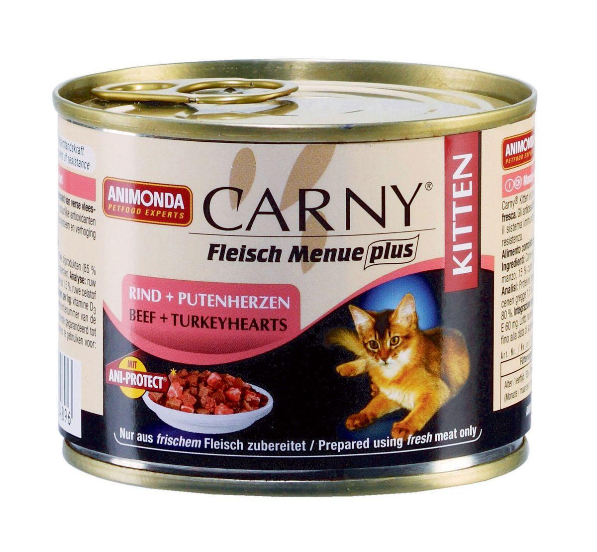 Консервы для котят Animonda Carny, с говядиной и сердцем индейки, 200 г47145Консервы Animonda Carny относят к супер премиум классу. Используются только высококачественные ингредиенты, без добавления искусственных красителей и консервантов. Это отличный выбор для котят в возрасте до 1 года. Консервы содержат все необходимые витамины и минералы. Состав: говядина 54% (говядина, сердце, легкие, почки, вымя), бульон 31%, сердце индейки 14%, карбонат кальция. Анализ: белок 11%, жир 5,5%, клетчатка 0,3%, зола 1,5%, влажность 80%. Добавки (на 1 кг продукта): витамин D3 200 МЕ, витамин Е (a-токоферол) 60 мг. Вес: 200 г. Товар сертифицирован.