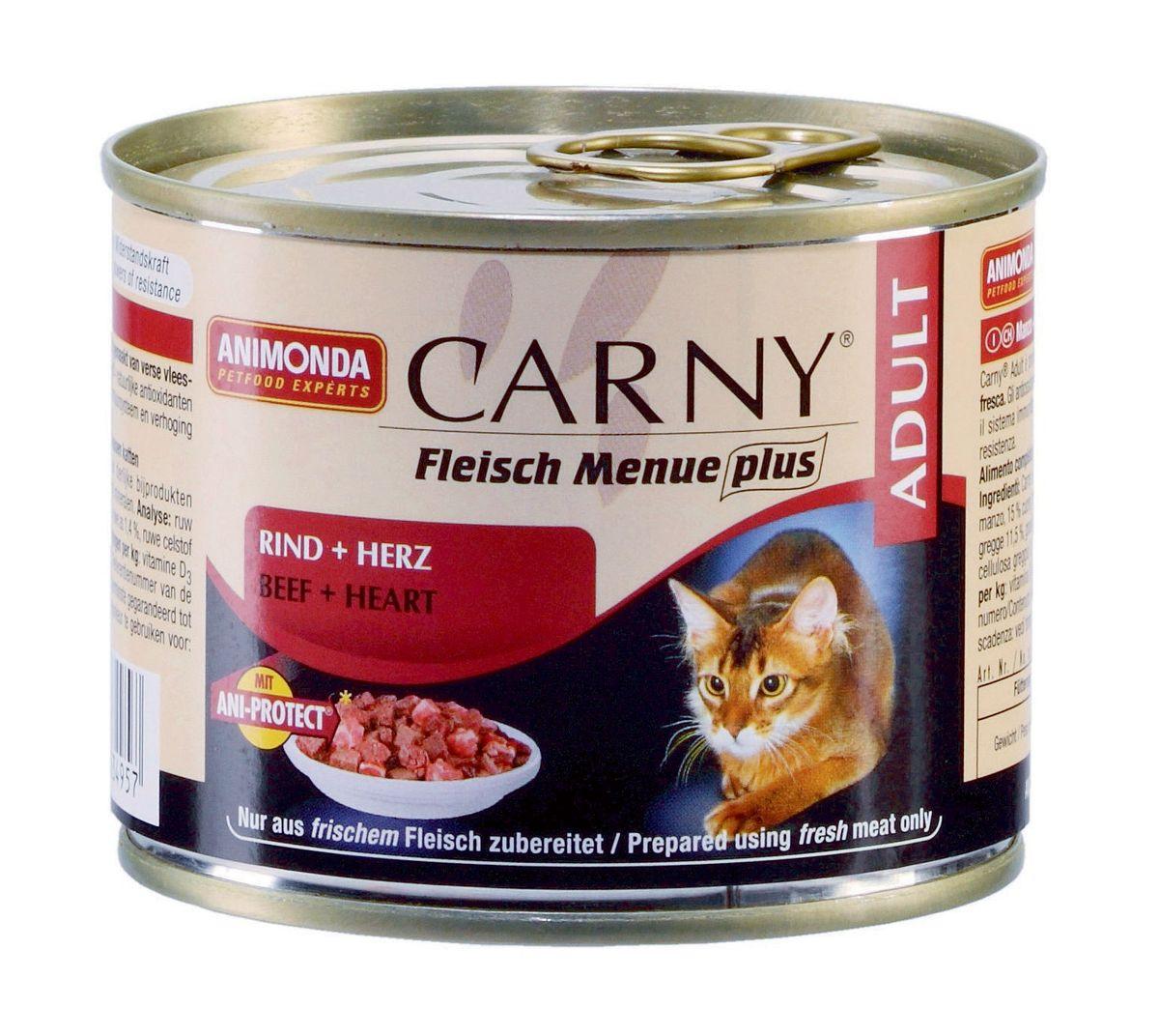 Консервы Animonda Carny для взрослых кошек, с говядиной и сердцем, 200 г47147Кошки большие любители мяса и не обманывают себя, когда речь идет о качестве. Свежие, нежные, сочные и вкусные консервы не требуют никаких дополнительных добавок или вспомогательных средств для улучшения внешнего вида и вкуса. Гарантировано отсутствие в составе продукта сои, искусственных красителей, консервантов и генетически модифицированного сырья. Корм имеет естественный, подлинный и типичный вкус мяса. Все ингредиенты, используемые при производстве, объявлены полностью открытыми и соответствуют описанию. Консервы Animonda Carny подвергаются дополнительной обработке для придания волокнам мяса более мягкой структуры. Специально разработан для удовлетворения потребностей кошек старше 7 лет. Состав: говядина 53% (говядина, печень, легкие, почки, вымя), бульон 31%, сердце 15%, карбонат кальция. Анализ: белок 11,5%, жир 5%, клетчатка 0,3%, зола 1,4%, влажность 79%. Добавки (на 1 кг продукта): витамин D3 250 МЕ, витамин Е (a-токоферол) 30...