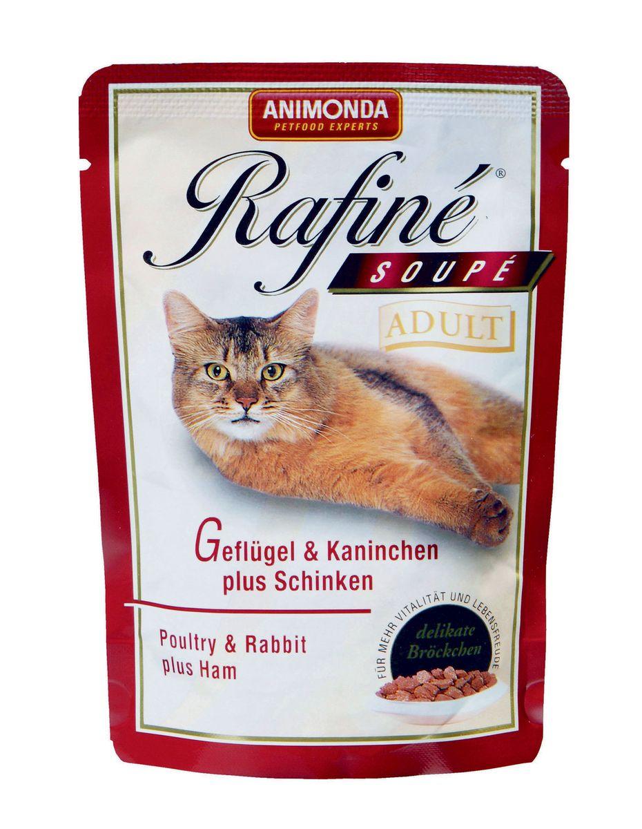 """Консервы для кошек Animonda """"Rafine Soupe Adult"""", с домашней птицей, кроликом и ветчиной, 100 г 53657"""