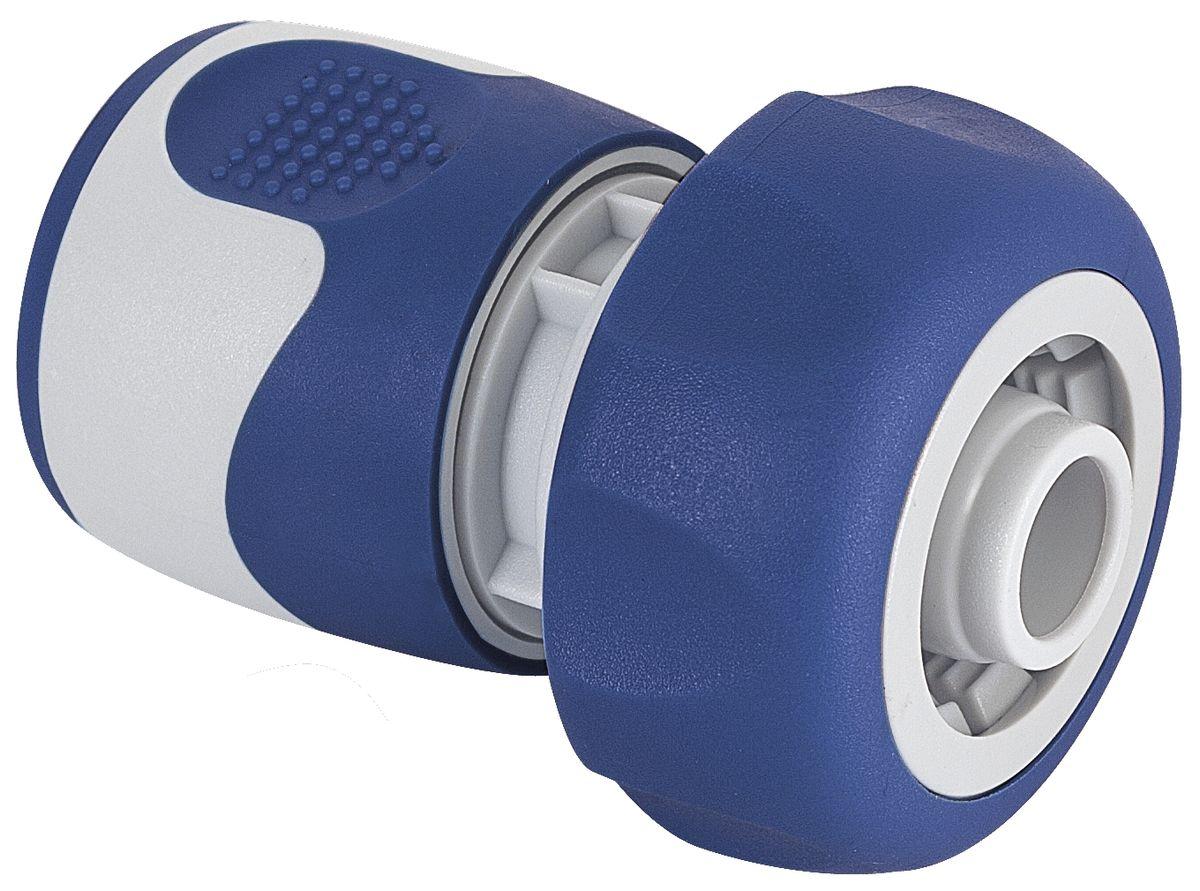 Коннектор Green Apple, для шланга 3/4, цвет: серый, синийGWHC20-059Универсальный коннектор Green Apple предназначен для надежного подключения насадок к шлангу. Коннектор совместим со всеми стандартными шлангами диаметром 3/4 (19 мм). Изготовлен из пластика. Длина коннектора: 7 см.