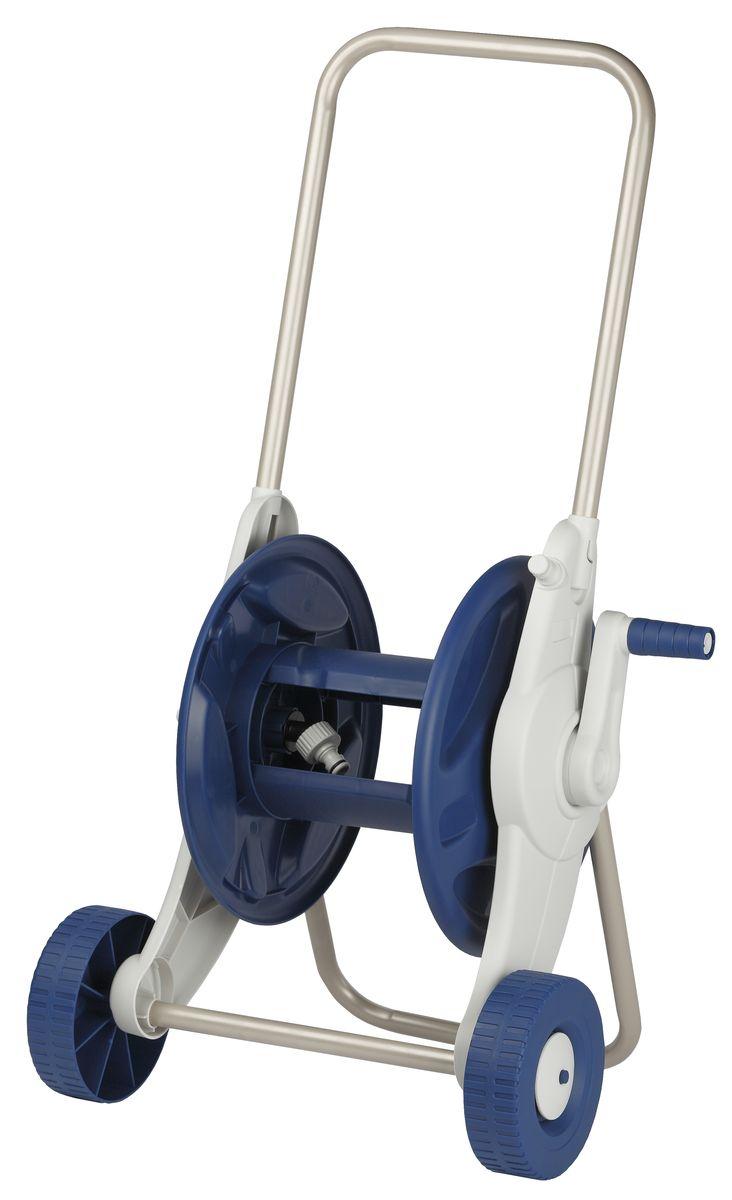 Тележка для шланга Green Apple, цвет: серый, синийGWHC6-048Тележка для шланга Green Apple изготовлена из высококачественной стали и пластика. Особенности тележки: может содержать до 35 м садового шланга диаметром 1/2 (12 мм); легкая сборка без инструмента; широкие колеса и удобная рукоятка для простого передвижения по саду; конструкция соединения шланга с коннектором на катушке предохраняет шланг от скручивания и перегиба в процессе сматывания шланга; удобное хранение шланга с насадками на боковой раме. Размер тележки: 40 см x 79 см x 37 см.