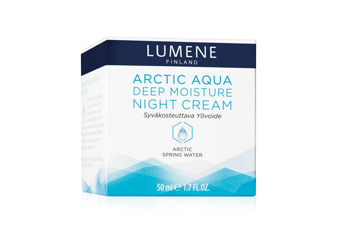 LUMENE Интенсивный увлажняющий ночной крем Lumene Arctic Aqua, 50 млNL577-80112Arctic Aqua Deep Moisture Night Cream Интенсивный увлажняющий ночной крем Lumene Arctic Aqua С арктической родниковой водой Для нормальной/сухой кожи Обеспечивает глубокое увлажнение в течение ночи. Эффективно питает кожу и смягчает ее, укрепляя естественные защитные механизмы. Содержит чистейшую арктическую родниковую воду из природного источника в Финляндии, обогащенную такими исключительно полезными для здоровья кожи минералами, как калий, магний и натрий. Уникальная технология интенсивного увлажнения удерживает влагу в коже и обеспечивает глубокое увлажнение на длительное время. Врезультате кожа становится нежной, красивой и здоровой. Без парабенов, минеральных масел и доноров формальдегида.