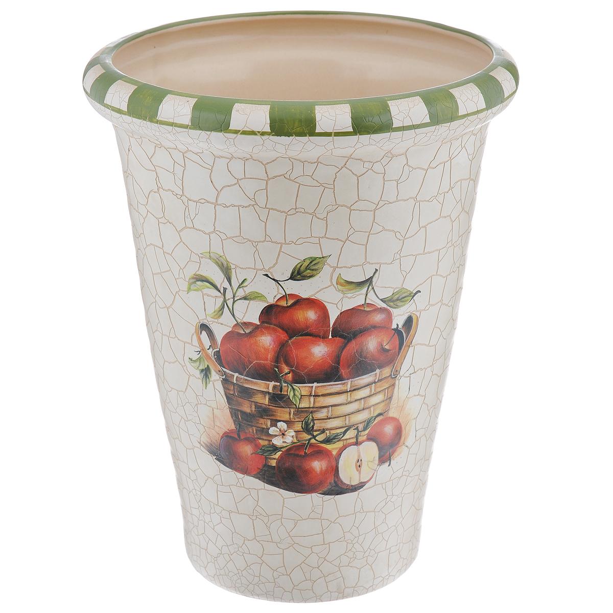 Ваза Яблоки, высота 26 смQLF26039Элегантная ваза Яблоки выполнена из высококачественной керамики и декорирована рисунком. Она придется по вкусу и ценителям классики, и тем, кто предпочитает утонченность и изящность. Вы можете поставить вазу в любом месте, где она будет удачно смотреться и радовать глаз. Такая ваза подойдет и для цветов, и для декора интерьера. Кроме того - это отличный вариант подарка для ваших близких и друзей. Высота вазы: 26 см. Диаметр по верхнему краю: 17 см.