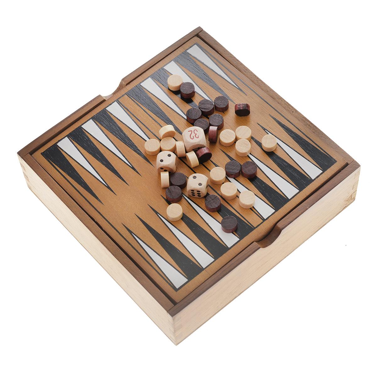 Настольная игра Tactic Games Backgammon14026NНастольная игра Backgammon (Нарды) от финского бренда Tactic Games - это отличный вариант классической игры, который всегда можно взять с собой. Правила игры остаются неизменными – бросайте кости и передвигайте свои фишки на другую сторону доски, занимая свободное пространство. Кто из соперников сделает это первым, признается победителем. Доской для игры является деревянный короб, который очень удобен для хранения шашек, что очень практично, особенно в путешествии. Возраст игроков: от 7 лет и старше. Количество участников: 2 человека. В комплекте: 30 шашек, 2 игральных кубика, игровое поле, правила игры.