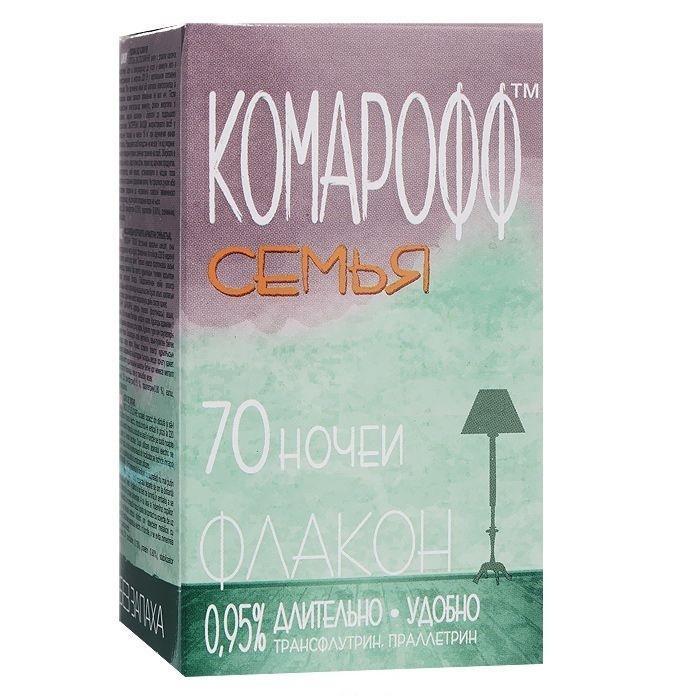 Жидкость от летающих насекомых Комарофф Семья, без запаха, 70 ночей, 45 млOF 01070031Жидкостной комплект Комарофф состоит из флакона с жидкостью от комаров и электронагревательного прибора. Легкое в применении, средство особенно удобно как для первичной покупки, так и для повторной, например, для второй комнаты. Электроприбор универсален: подходит как для жидкости, так и для пластин. Жидкостной комплект из серии «Защита» от комаров – это эффективное и безопасное средство борьбы с летающими насекомыми. Действующее вещество – праллетрин (0,7%); без запаха. Флакон (45 мл) рассчитан на применение в течение 70 ночей; действие проявляется через 10-15 минут после включения электроприбора с жидкостным флаконом в электрическую розетку. Характеристики: Объем флакона: 45 мл. Состав: трансфлутрин - 0,15%, праллетрин - 0,8%, растворитель, стабилизатор. Товар сертифицирован.