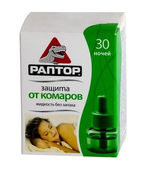 РАПТОР Жидкость от комаров 30 ночейG9560Новый универсальный прибор РАПТОР с улучшенным нагревательным элементом – гарантия спокойного сна в течение всей ночи.