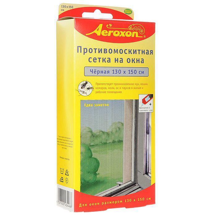 Противомоскитная сетка Aeroxon, цвет: черный, 130 х 150 см43764Противомоскитная сетка Aeroxon препятствует проникновению моли, ос и пауков в жилые и рабочие помещения. Сетка выполненная из мелкоячеистого, устойчивого к ультрафиолету материала. Подходит для любых окон размером до 130 см на 150 см. Сетку можно стирать и многократно использовать. В комплект входит нож и клейкая полоса.