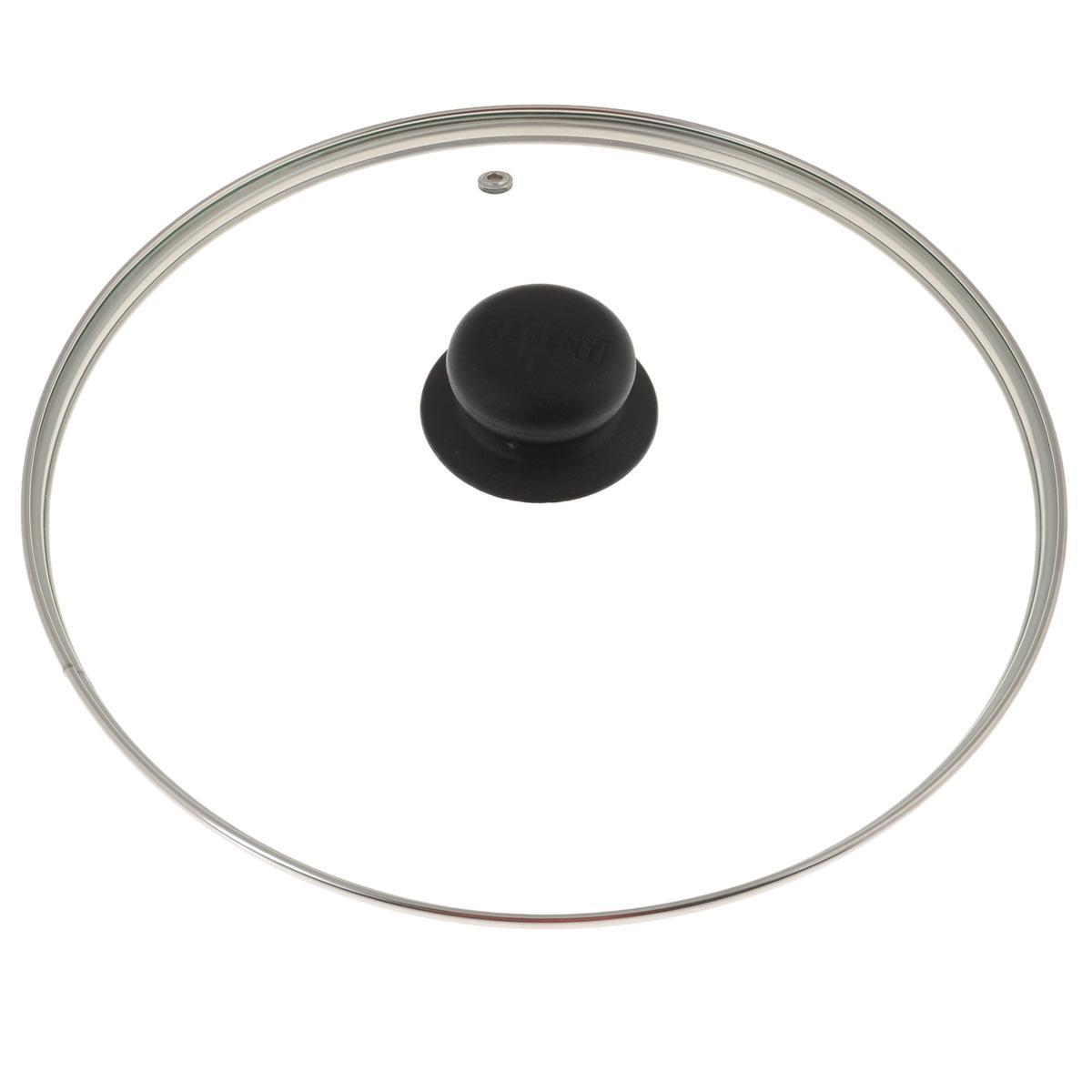 Крышка Regent Inox, стеклянная. Диаметр 26 см26Крышка Regent Inox изготовлена из термостойкого стекла. Обод, выполненный из высококачественной нержавеющей стали, защищает крышку от повреждений, а ручка, выполненная из термостойкого пластика, защищает ваши руки от высоких температур. Крышка удобна в использовании, позволяет контролировать процесс приготовления пищи. Имеется отверстие для выпуска пара.