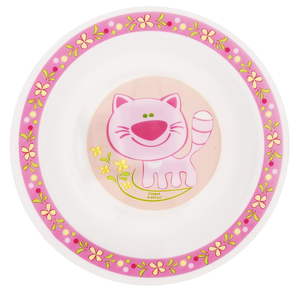 Canpol Babies Тарелка детская глубокая Кот цвет розовый диаметр 18 см4/412_розовый/котДетская глубокая тарелка Canpol Babies Розовый кот идеально подойдет для кормления малыша и самостоятельного приема им пищи. Тарелочка выполнена из высококачественного полипропилена, дно оформлено изображением розового котика. Не предназначена для разогрева сильно жирной пищи. Объем тарелки: 270 мл.