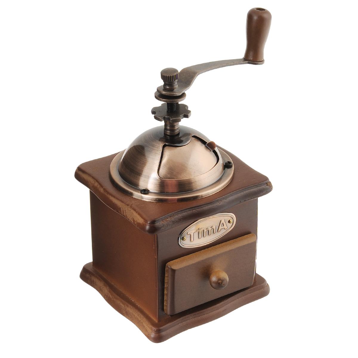 Кофемолка ручная TimA. SL-008SL-008Ручная кофемолка TimA, выполненная из дерева и металла, сочетает в себе эстетичность и функциональность. Она оснащена выдвижным деревянным ящичком для молотого кофе, металлической воронкой и удобной элегантной ручкой для помола. Изделие снабжено внутренним керамическим механизмом. Вы сможете регулировать степень помола от мелкого до крупного. Инструкция по регулировке степени помола имеется на упаковке изделия. Такая кофемолка станет незаменимым помощником на вашей кухне. Высота кофемолки: 16 см. Размер основания кофемолки: 10 см х 10 см.