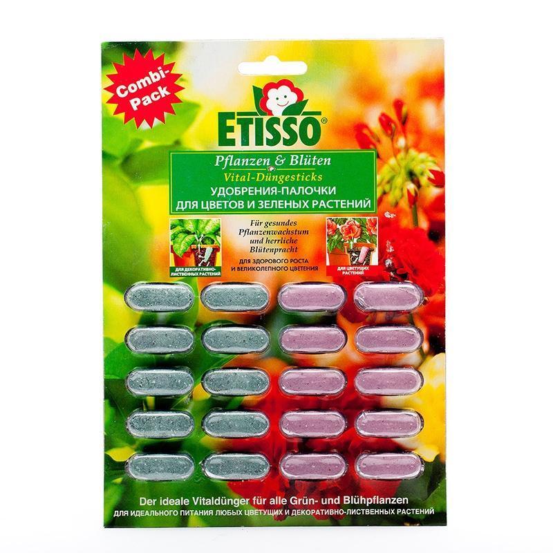 Дозированные комплексные удобрения-палочки Etisso, для цветов и зеленных растений, 20 шт4013441400281Удобрения-палочки Etisso для цветов и зеленых растений - это идеальное полное комплексное удобрение для любых цветущих и зеленых растений в доме и на балконе. Состав питательных веществ соответствует всем потребностям растений и состоит из гармоничной смеси органических и неорганических питательных веществ. С палочками ваша забота о растениях становится надежной, быстрой и легкой. Без опасности сжечь растения - передозировка исключена при правильном применении! Поступление питательных веществ от палочек происходит при каждом поливе. Таким образом, вы достигаете самым простым способом оптимального дозирования и продолжительного (до 6 недель) полноценного питания растений. Характеристики: Массовая доля питательных веществ: для цветущих - азот (общий) - 4,7%; фосфор водорастворимый - 8,1%; калий водорастворимый - 15,9%; магний (MgO) - 0,13%, микроэлементы (железо, медь, марганец, цинк, бор). Массовая доля питательных веществ: для зеленых растений - азот (общий) - ...