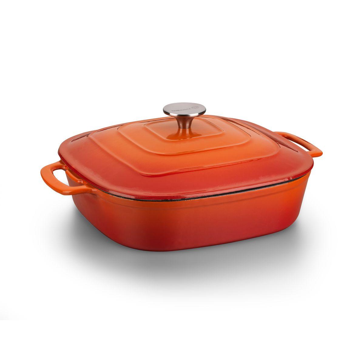 Сотейник Korkmaz Casterra с крышкой, цвет: оранжевый, красный, 28 см х 28 смA1475Сотейник Korkmaz Casterra, изготовленный из чугуна, идеально подходит для приготовления мясных и овощных блюд, соусов, каш и рагу. За счет возможности готовки на невысоких температурах, блюдо не пригорит и не потеряет сочность. Чугун является традиционным высокопрочным, экологически чистым материалом. Он идеально подходит для готовки как на плитах, так и в духовках, его можно разогревать до очень высоких температур, чего не перенесет, например, посуда с антипригарным покрытием. Чугун отличается исключительной износостойкостью, практически не подвержен деформации и обладает естественными антипригарными свойствами. Высокая теплоемкость чугуна позволяет ему сильно нагреваться и медленно остывать, а это в свою очередь обеспечивает равномерное приготовление пищи. Эмалевое внутреннее и наружное покрытие: способно нагреваться до высоких температур, не выделяет токсичных паров при готовке, не содержит тяжелых металлов (таких как свинец и кадмий), легко мыть и хранить....