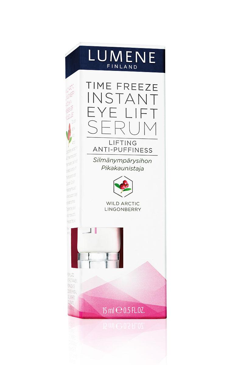 Lumene Сыворотка Lumene Time Freeze, с эффектом моментального лифтинга для области вокруг глаз, 15 млNL61-80346Эта легкая сыворотка обеспечивает моментальный эффект лифтинга , уменьшая отечность и признаки усталости нежной кожи вокруг глаз. Входящий в состав биоактивный экстракт дикой арктической брусники исключительно богат кверцетином - активным антиоксидантом, который эффективно восстанавливает эластичность кожи. Специально разработанная технология активирует межклеточный обмен веществ, что стимулирует выработку коллагена и эластина и ускоряет процесс обновления кожи. Без отдушек, парабенов, доноров формальдегида, минеральных масел и синтетических красителей. Товар сертифицирован.