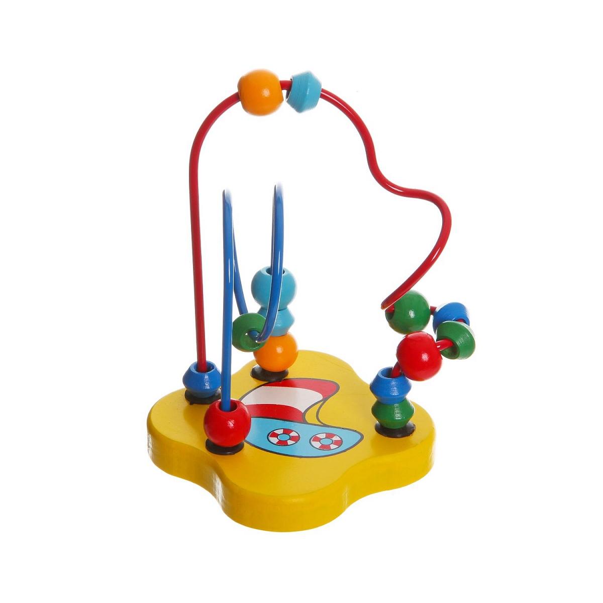 Развивающая игрушка Bondibon Разноцветный лабиринтВВ1089Развивающая игрушка Bondibon Разноцветный лабиринт, изготовленная из дерева и металла, привлечет внимание вашего малыша и не позволит ему скучать. Игрушка состоит из подставки, к которой крепятся две металлические проволоки. На каждую проволоку нанизаны маленькие деревянные элементы, которые можно передвигать по проволокам. Игрушки из дерева пользуются большой популярностью в последнее время. И тому есть свои причины. Относительная дешевизна, экологичность и приятный внешний вид, которыми обладают игрушки из дерева, выделяют их на фоне игрушек из других материалов. Дерево - это теплый натуральный материал, который приятно трогать, поэтому играть в игрушки из дерева не только интересно, но и полезно. Игрушка поможет развить логическое мышление, пространственное воображение и мелкую моторику.