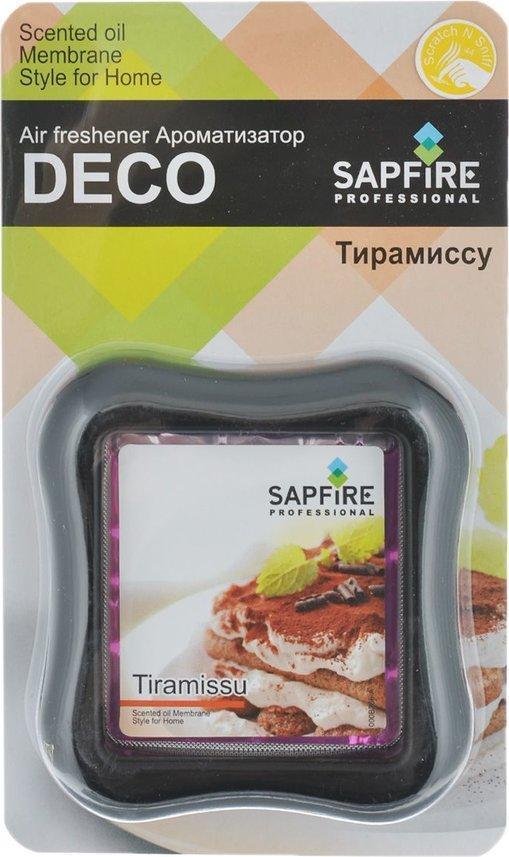 Ароматизатор в дефлектор Sapfire Deco, тирамиссу07714-SAAАвтомобильный и домашний декоративный освежитель воздуха Sapfire Deco имеет приятный аромат тирамиссу. Ароматизатор, изготовленный с использованием современной мембранной технологии, - это безопасно, удобно и гарантирует длительную работу, без риска пролить жидкое содержимое. Крепится ароматизатор на стену в комнате или на дефлектор в автомобиле. Состав: парфюмерная композиция, гель, пластик, алюминиевая фольга. Размер ароматизатора: 8 см х 8,5 см х 2 см.