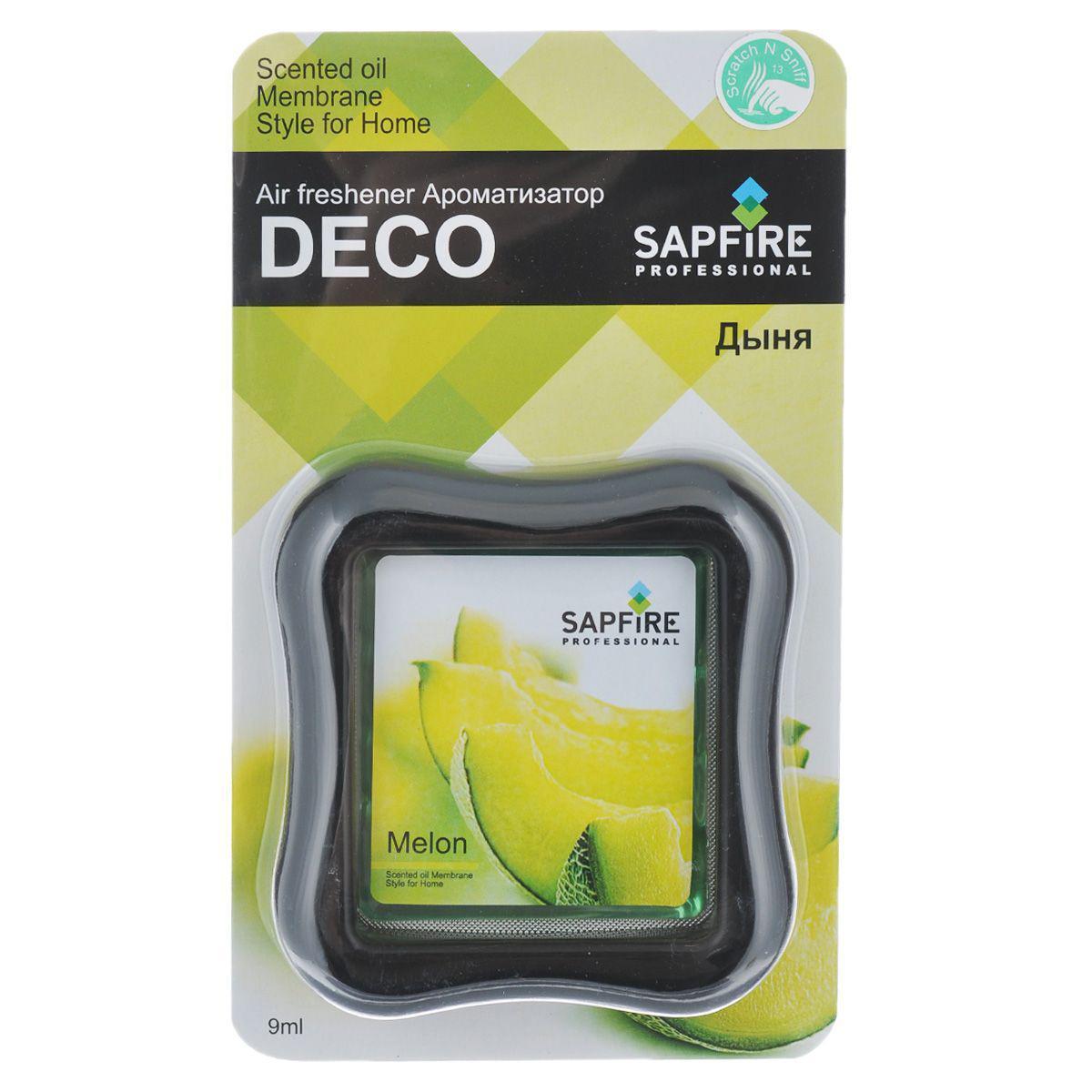 Ароматизатор в дефлектор Sapfire Deco, дыня07713-SAAАвтомобильный и домашний декоративный освежитель воздуха Sapfire Deco имеет приятный аромат дыни. Ароматизатор, изготовленный с использованием современной мембранной технологии, - это безопасно, удобно и гарантирует длительную работу, без риска пролить жидкое содержимое. Крепится ароматизатор на стену в комнате или на дефлектор в автомобиле. Состав: парфюмерная композиция, гель, пластик, алюминиевая фольга. Размер ароматизатора: 8 см х 8,5 см х 2 см.