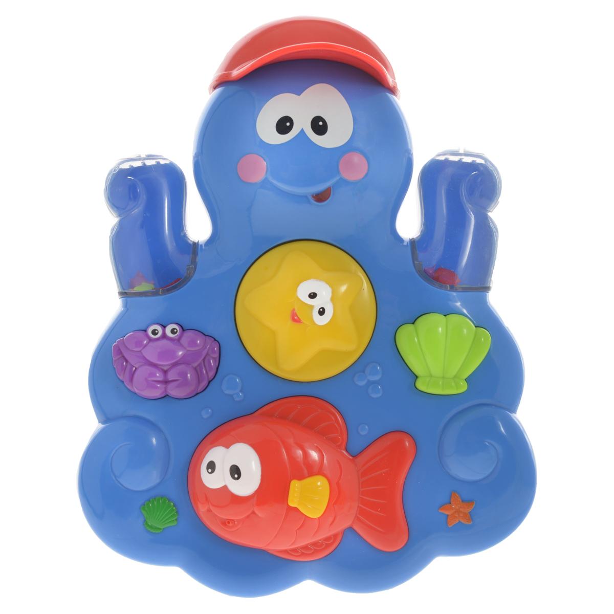Развивающая игрушка для ванны Kiddieland Осьминог с друзьямиKID 035550Развивающая игрушка Kiddieland Осьминог с друзьями, изготовленная из высококачественного прочного пластика в виде забавного осьминога, предназначена для игры в ванной. Наливайте воду в осьминога при помощи маленькой чашки в виде кепки и наблюдайте, как она стекает по водному колесу (морской звезде), раскручивая его. Нажмите на краба или морскую ракушку, чтобы накачать воздух в воду и увидеть как всплывают цветные бусинки, или нажмите на рыбий плавник, чтобы брызнуть водой. Превратите купание ребенка в сплошное веселье! Игрушка способствует развитию координации движений, мелкой моторики рук, концентрации внимания, цветового восприятия.