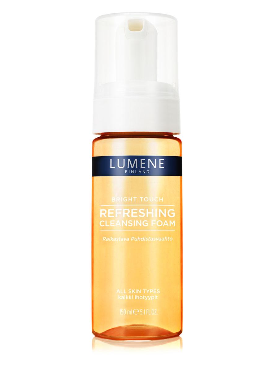 LUMENE Освежающая очищающая пенка для умывания Lumene Bright TouchNL50-812801. ОСВЕЖАЮЩАЯ ОЧИЩАЮЩАЯ ПЕНКА С нектаром из ягод арктической морошки Для всех типов кожи Эффективно очищает кожу от макияжа и загрязнений, заряжает энергией и обладает свойством выводить токсины. Результат – чистая, свежая и сияющая кожа.