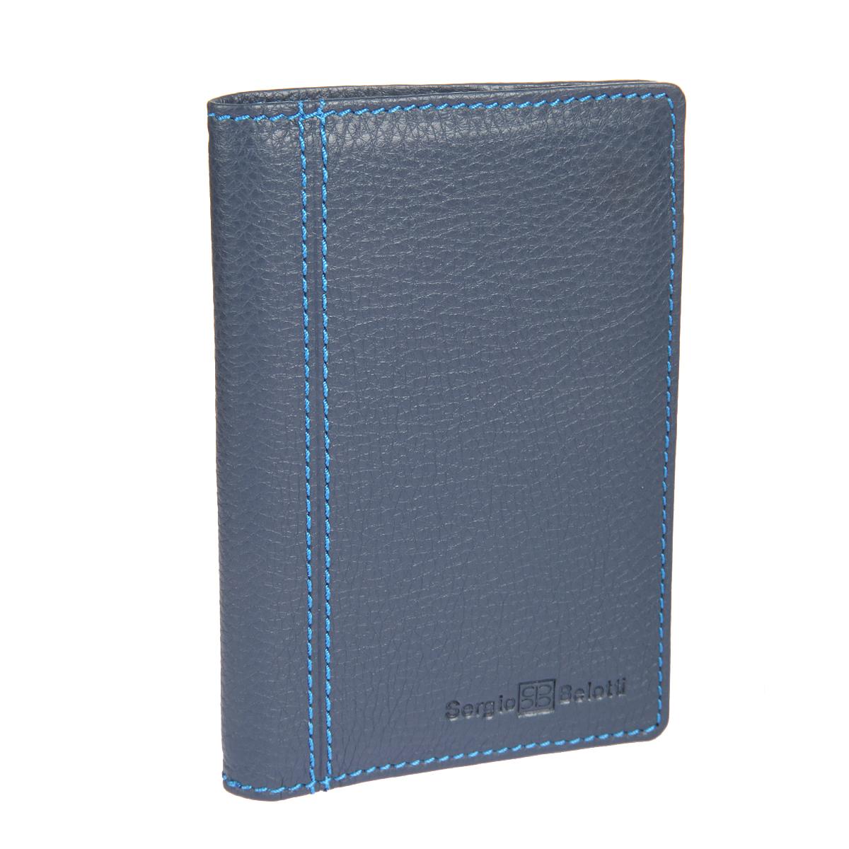 Обложка для паспорта Sergio Belotti, цвет: темно-синий. 24642464 indigo jeansСтильная обложка для паспорта Sergio Belotti выполнена из натуральной высококачественной кожи и оформлена фактурным тиснением, названием и логотипом бренда на лицевой стороне, декоративной прострочкой. Изделие раскладывается пополам. Внутри - сетчатый карман, два отсека и накладной кармашек для SIM-карты. Обложка для паспорта упакована в фирменную коробку. Такая обложка для паспорта станет отличным подарком для человека, ценящего качественные и стильные вещи.
