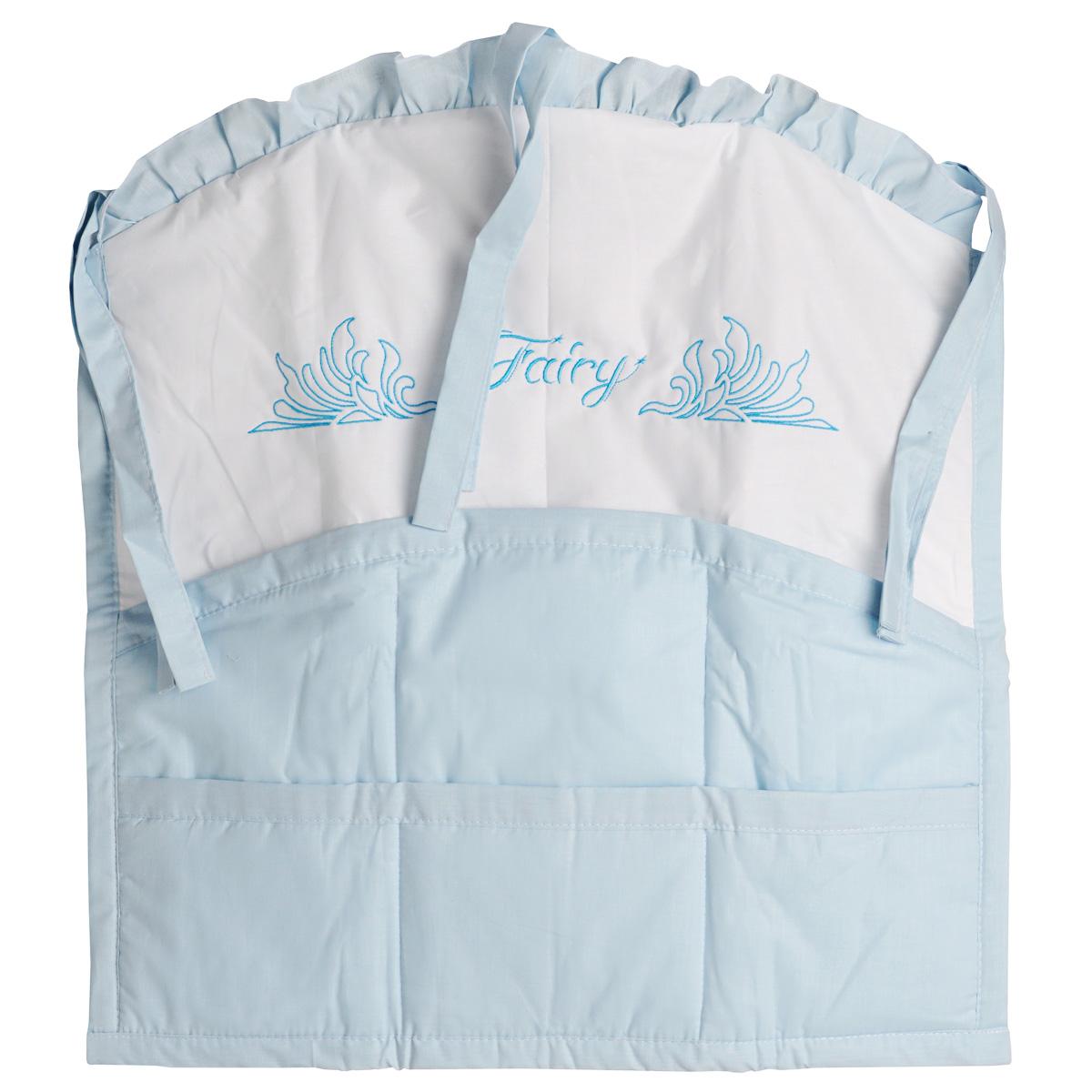 Карман на кроватку Fairy Сладкий сон, цвет: белый, голубой, 59 см х 60 см5646Карман на кроватку Fairy Сладкий сон, изготовленный из натурального 100% хлопка с наполнителем из полиэстера, сверху декорирован рюшами. Изделие оборудовано шестью вместительными кармашками и предназначено для хранения самых необходимых вещей малыша (игрушки, соски, бутылочки, подгузников или пеленки) и создания благоприятного эмоционального фона детской комнаты. С помощью текстильных веревочек, карман можно привязывать к спинке кроватки, как с внешней, так и с внутренней стороны. Общий размер изделия: 59 см х 60 см. Средний размер кармашков: 17 см х 18 см.