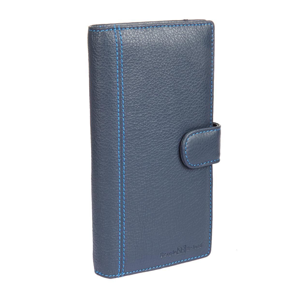 Портмоне мужское Sergio Belotti, цвет: темно-синий. 32853285 indigo jeansСтильное мужское портмоне Sergio Belotti выполнено из натуральной высококачественной кожи и оформлено фактурным тиснением, названием и логотипом бренда на лицевой стороне, декоративной прострочкой. Изделие закрывается хлястиком на кнопку. Внутри расположены два отделения для купюр, четырнадцать прорезных карманов для кредитных карт или визиток, боковой карман для мелких бумаг. На тыльной стороне портмоне - отделение для мелочи, закрывающееся клапаном на магнитную кнопку и дополненное двумя отсеками и шестью прорезями для банковских карт. Изделие упаковано в фирменную коробку. Такое портмоне станет отличным подарком для человека, ценящего качественные и необычные вещи.