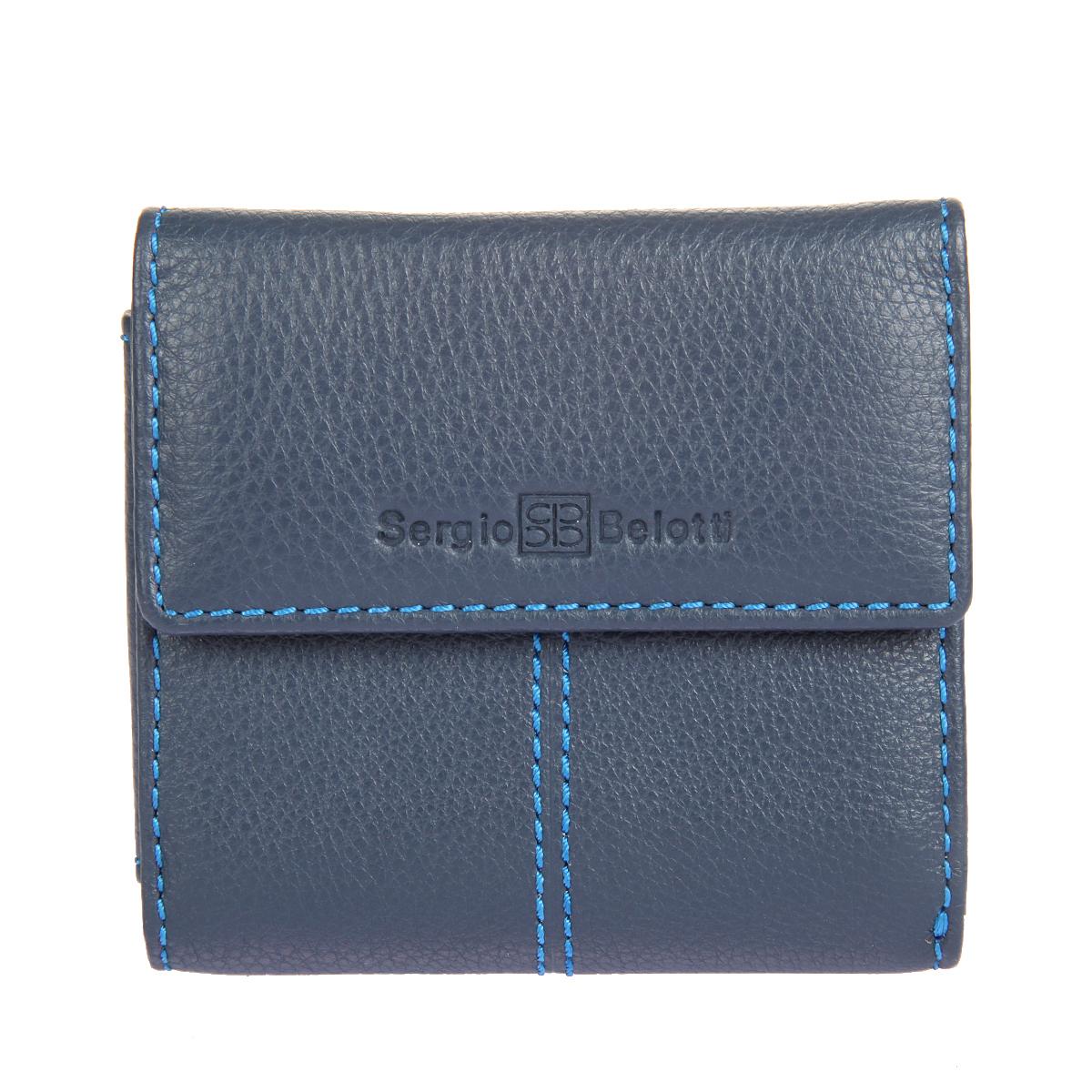 Портмоне мужское Sergio Belotti, цвет: синий. 34103410 indigo jeansМужское портмоне Sergio Belotti выполнено из натуральной кожи с зернистой фактурой и оформлено декоративной прострочкой. Лицевая сторона изделия оформлена тисненными названием и логотипом бренда. Портмоне закрывается клапаном на застежку-кнопку и внутри содержит два потайных кармана, два прорезных кармашка для визиток и пластиковых карт, вместительный карман-уголок для купюр. На тыльной стороне изделия размещен карман для мелочи на застежке-кнопке. Портмоне упаковано в фирменную коробку. Такое портмоне станет отличным подарком для человека, ценящего качественные и практичные вещи.