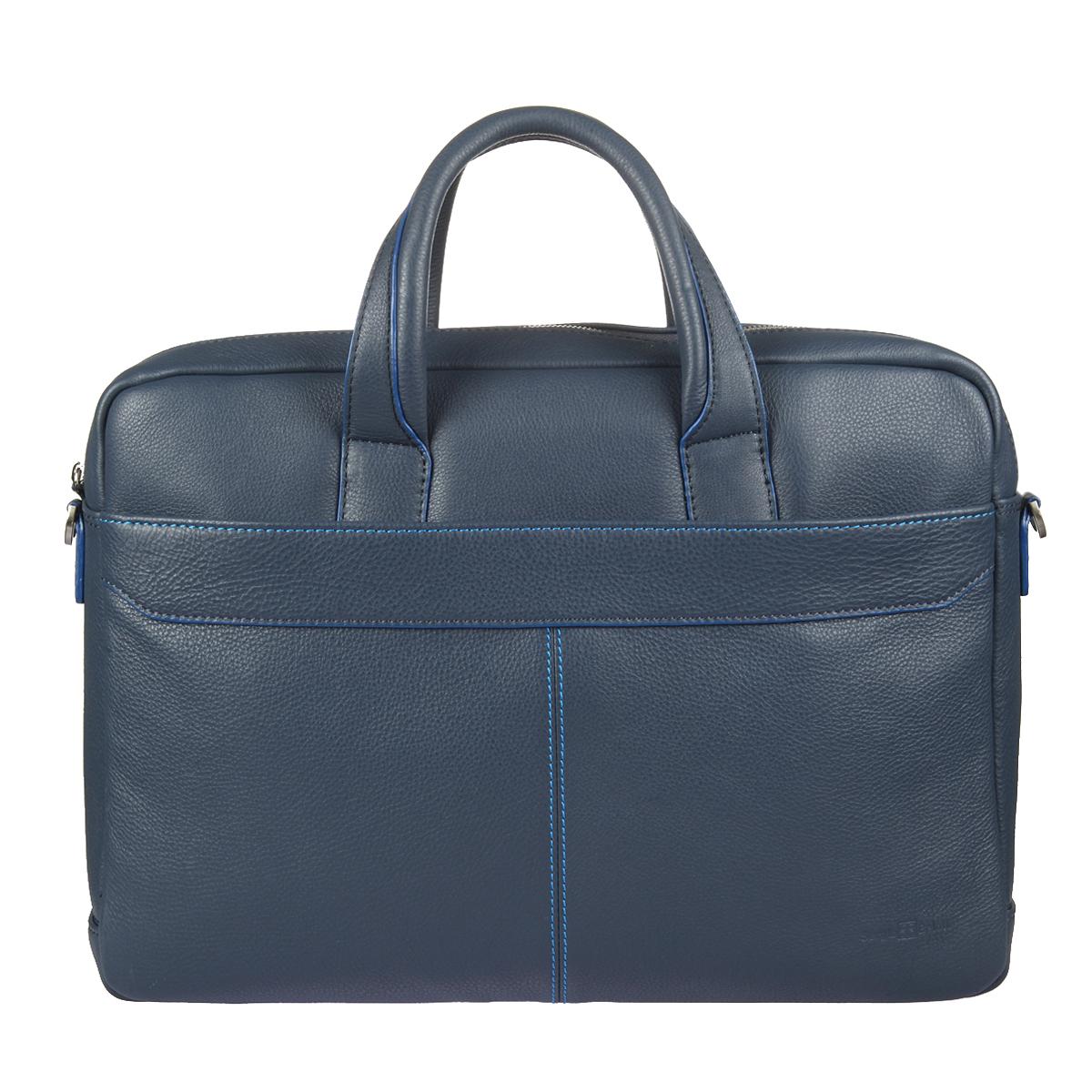 Бизнес-сумка мужская Sergio Belotti, цвет: синий. 9485 indigo jeans9485 indigo jeansБизнес-сумка мужская Sergio Belotti выполнена из натуральной кожи синего цвета и закрывается на металлическую застежку-молнию. Сумка состоит из одно вместительного отделения, внутри которого имеются прорезной карман на застежке молнии и уплотненный карман-отделение для документов формата А4, планшета или небольшого ноутбука. Данный карман фиксируется клапаном липучке. На лицевой стороне сумки расположен накладной карман на застежке-молнии, внутри которого имеются небольшой кармашек для мобильного телефона, два фиксатора для ручек и четыре отделения для визиток и пластиковых карт. На задней стенке расположен продольный прорезной карман, также закрывающийся на застежку-молнию. Сумка имеет ремень, регулируемый по длине, также к ней прилагается фирменный текстильный чехол для хранения. Этот стильный аксессуар станет изысканным дополнением к вашему образу и отличным подарком!